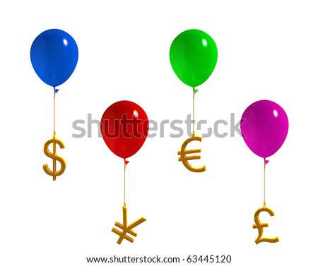 currency symbols in balloons