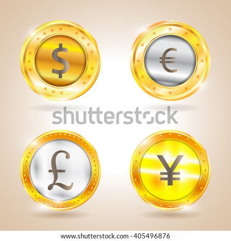 Currency - the dollar - the euro - pound sterling - Yen. Illustration - stock photo