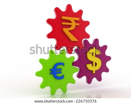 currency with gear wheel stock image - stock photo