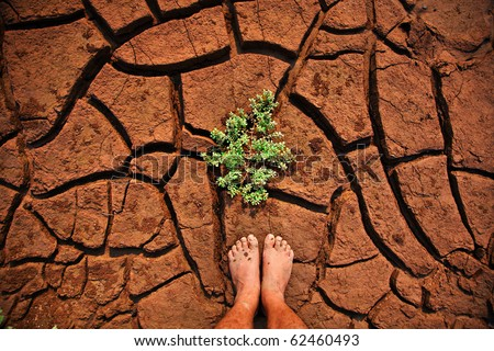 Current drought conditions are creeping. Astoundingly In the Northeast of Thailand - stock photo
