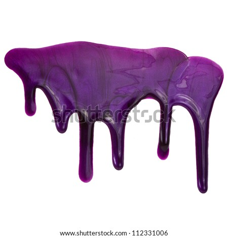 Current purple paint , stains . Nail polish drops. Isolated on a white background. - stock photo