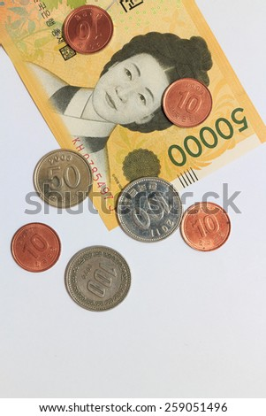 Current Use of South Korean Won Currency - stock photo