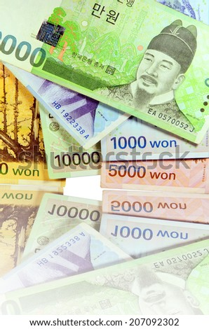 Current Use of South Korean Won Currency in Different value. - stock photo
