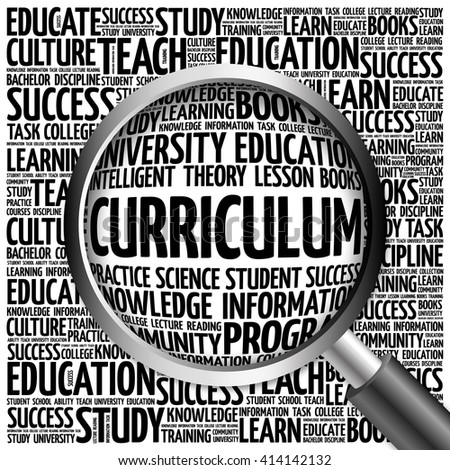 CURRICULUM word cloud with magnifying glass, concept