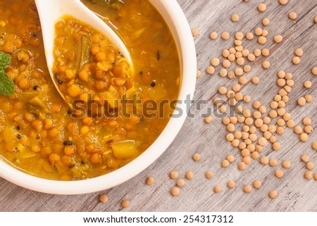 Curried lentil overhead view - stock photo