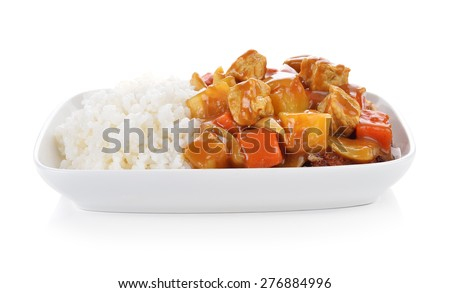 Curry and rice on white background. - stock photo