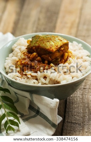 Curry and rice / Spicy  fish curry and rice, selective focus - stock photo
