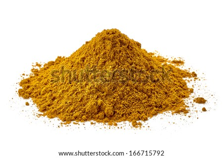 Curry pile on white background - stock photo