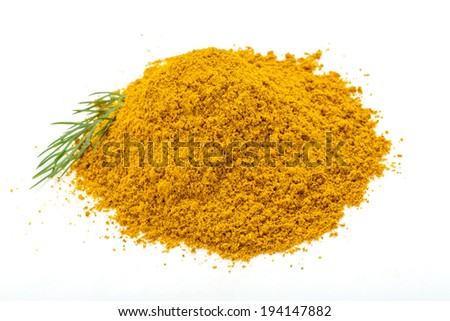 Curry powder with dill isolated - stock photo