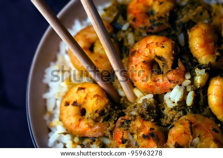 Curry Prawns with rice - Caribbean Tasty food 07 - stock photo