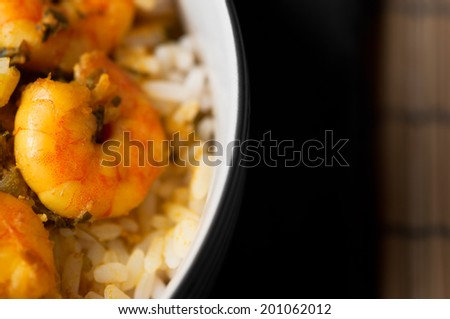 Curry Prawns with rice Caribbean tasty food macro close up  - stock photo