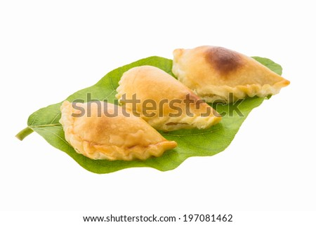 curry puff pastry isolated on white background - stock photo