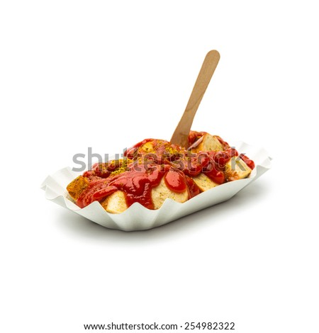 curry sausage with fork on white background - stock photo