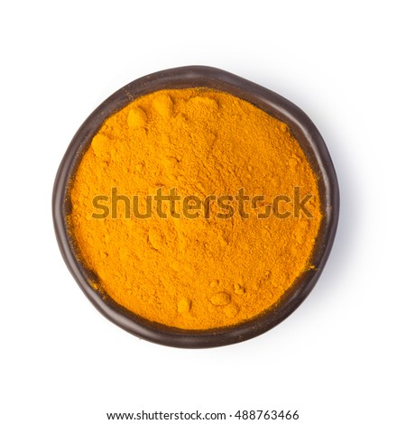 curry spices on white background