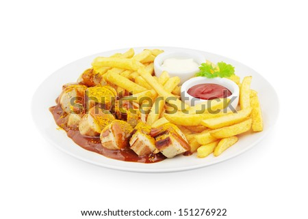 Currywurst with french fries on white