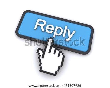 cursor clicking on the reply button (3d rendering)