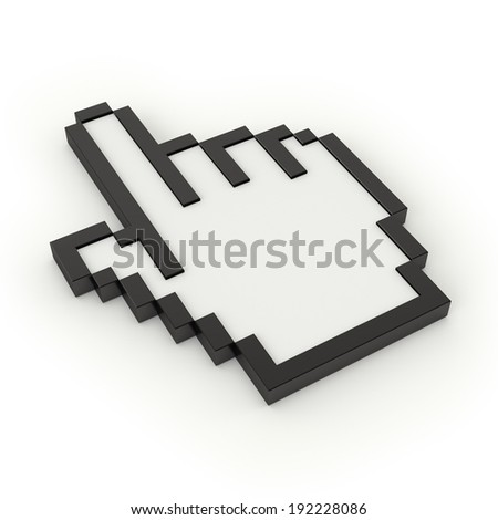 Cursor hand on white background
