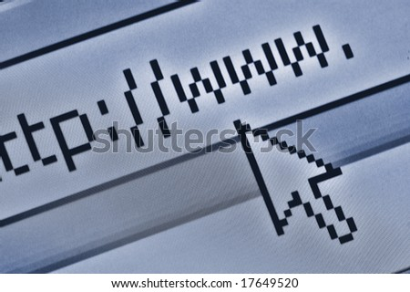 cursor pointing at browser bar with http www text - stock photo