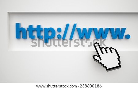 cursor pointing at url. Concept 3d render of  cursor over browser address bar - stock photo