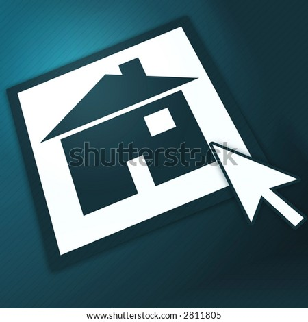 "Cursor shows on ""home"" button. - stock photo"