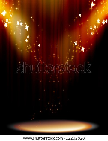Curtain background with spotlights - stock photo