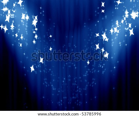 Curtain background with spotlights and some glitters on it