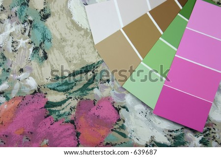 Curtain fabric and paint swatches for interior design - stock photo
