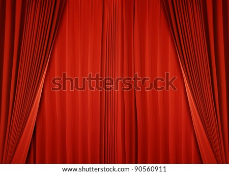 curtain of red color - stock photo