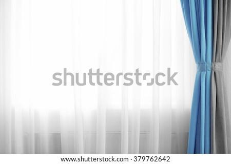 Curtain on the window - stock photo