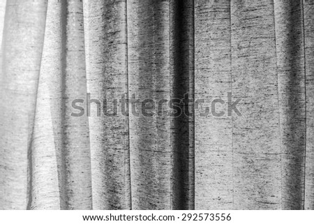 curtain or drapes black-white background - stock photo