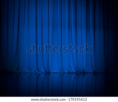 curtain or drapes blue background - stock photo