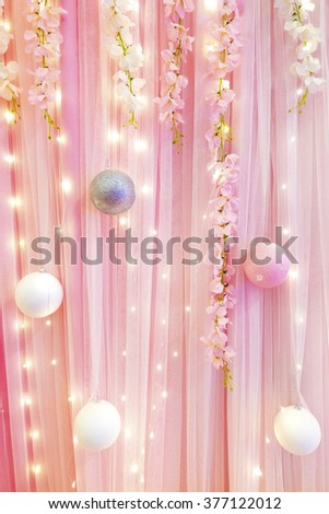 curtain or drapes pink background - stock photo