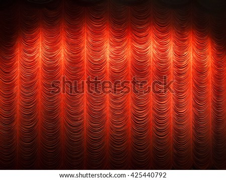curtain or drapes red background - stock photo