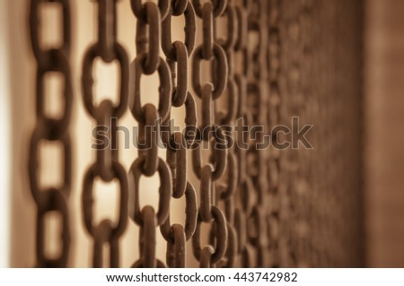 Curtain rusty chains / Vintage look - stock photo
