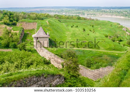 Curtain wall at Khotyn fortress, Ukraine - stock photo