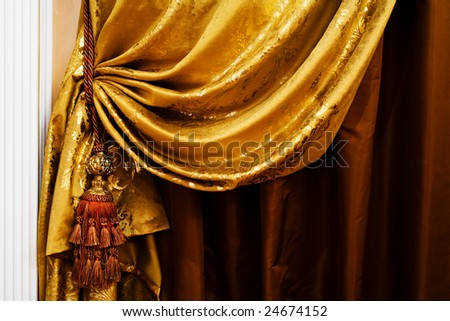 curtain with an ornament in the modern  apartment - stock photo