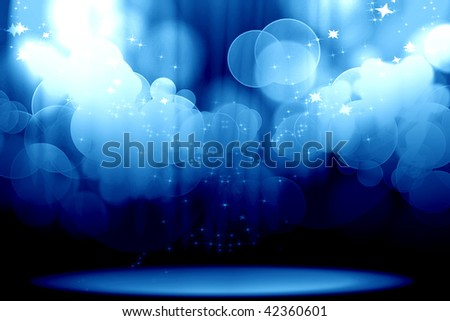 Curtain with spotlights on a blue background - stock photo