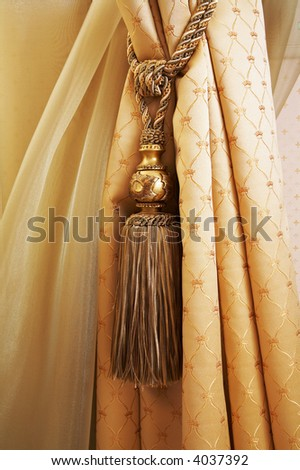 Curtains with ornaments in the modern house - stock photo