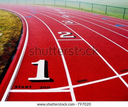 Curve in the track. - stock photo