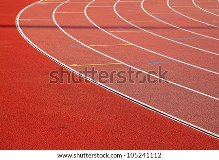 Curve of a running tracks on stadium