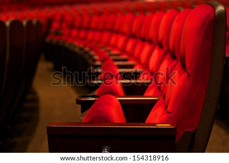 Curve of Red Seats - stock photo