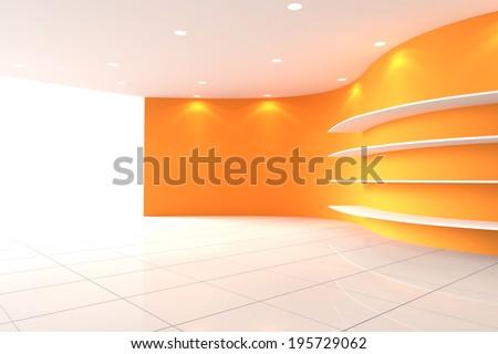 Curve Orange Wall Empty Room with Shelves, Interior Exhibition - stock photo