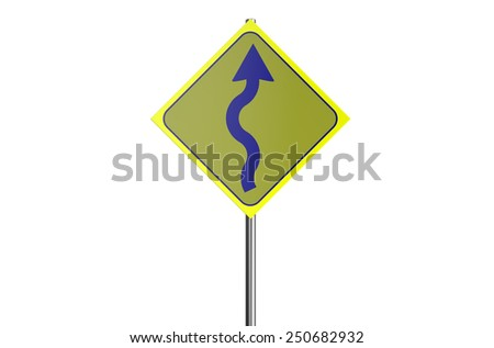 curve road road sign isolated on white background - stock photo