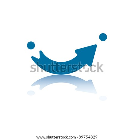 Curved Arrow Pointing From Point A to Point B - stock photo