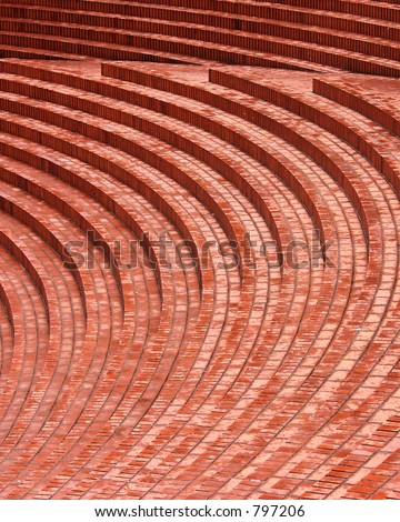 curved brick steps at pioneer courthouse square, portland, oregon, usa - stock photo