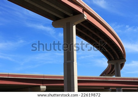 Curved bridge highway - stock photo