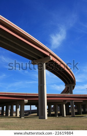 Curved bridge highway perspective - stock photo