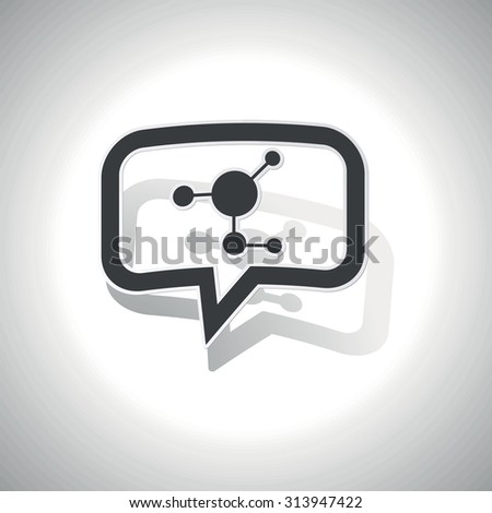Curved chat bubble with molecule and shadow, on white - stock photo