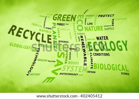 Curved conceptual tag or word cloud on blurred yellow green background containing words related to ecology, environment, ecosystem, nature, etc. Square composition used. illustration. - stock photo