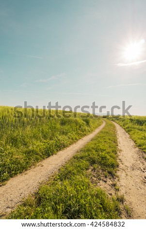 Curved Country road at green fields with sky background